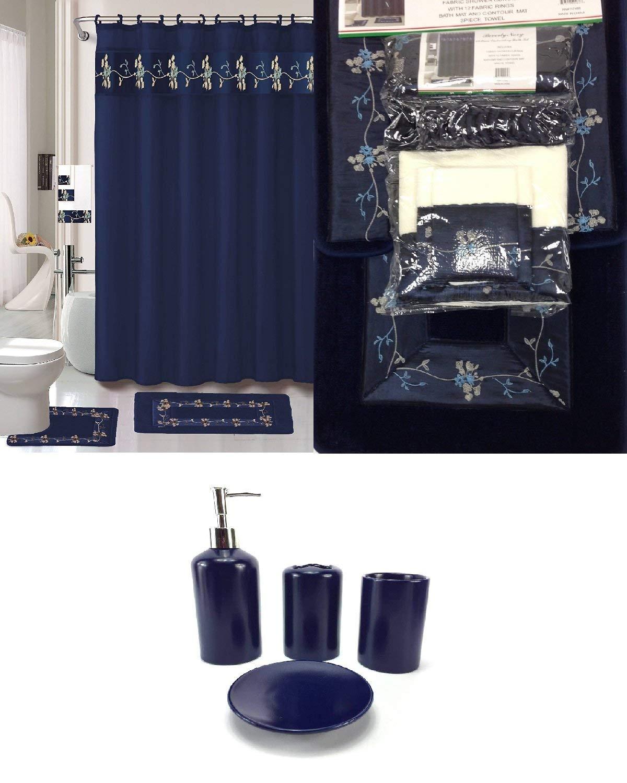22 Piece Navy Blue Bathroom Set World Products Mart