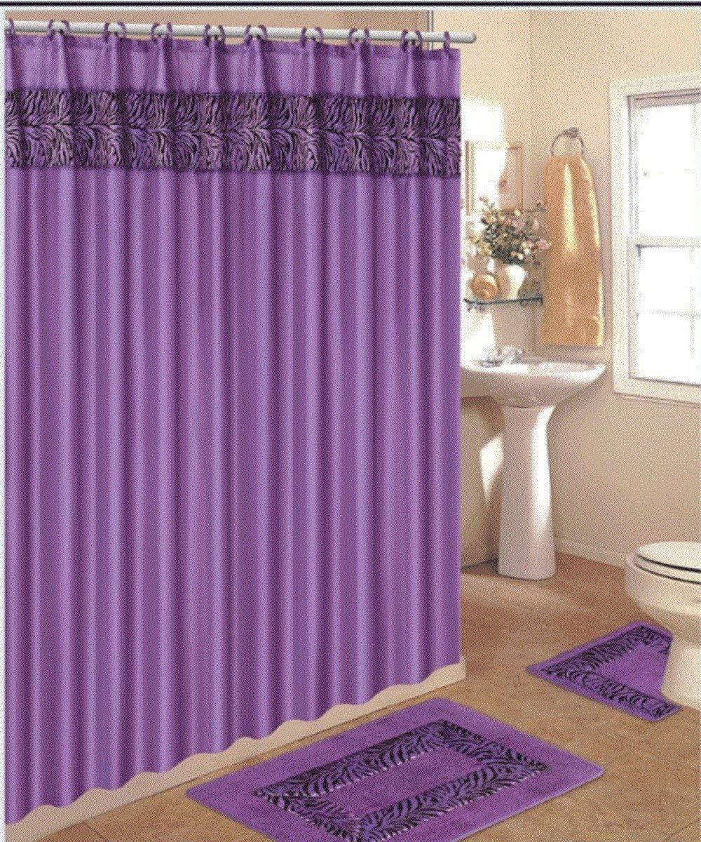 15 Piece Zebra Purple Bathroom Set World Products Mart