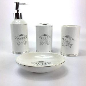 White Ceramic Bathroom Accessory Set