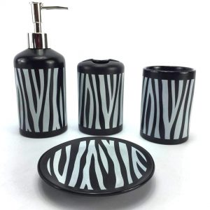 Zebra Print Ceramic Bathroom Accessory Set