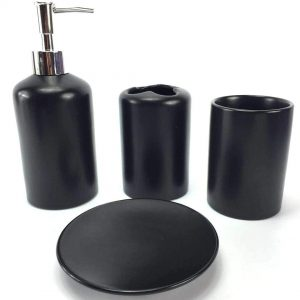Black Ceramic Bathroom Accessory Set