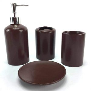 Brown Ceramic Bathroom Accessory Set