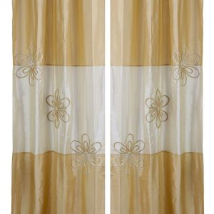 Beige Gold Embroidered Design Curtains