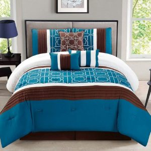 7-Piece Complete Bedding Ensemble Brown Turquoise Blue White Flower Print Luxury Embroidery Comforter Set Bed-in-a-bag Bedding – Antonia