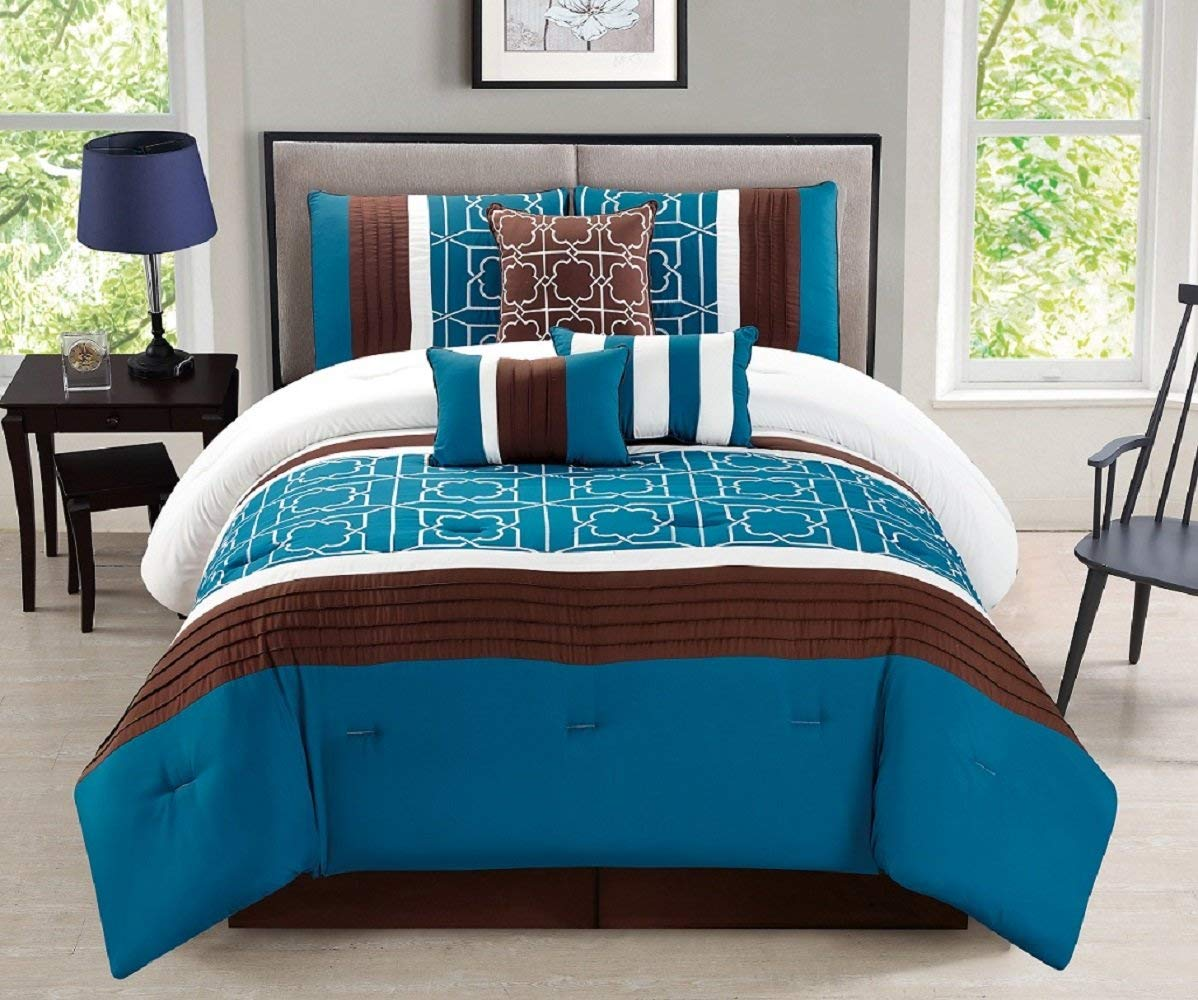7piece Turquoise Blue Brown White Bed