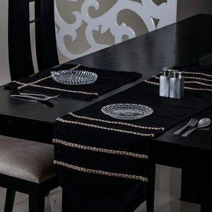 Black Table Runner and Mat (Jute)