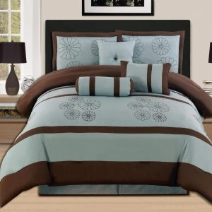 Brown Aqua Comforter Set