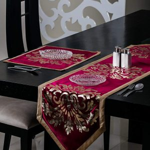 Burgundy Table Runner and Mat (Metallic)