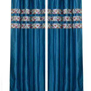 Blue Floral Print 4-piece Curtain Set