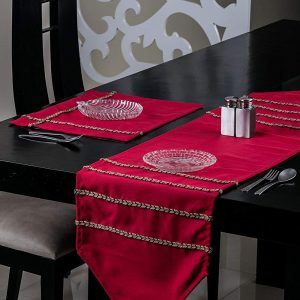 Red Table Runner and Mat (Jute)