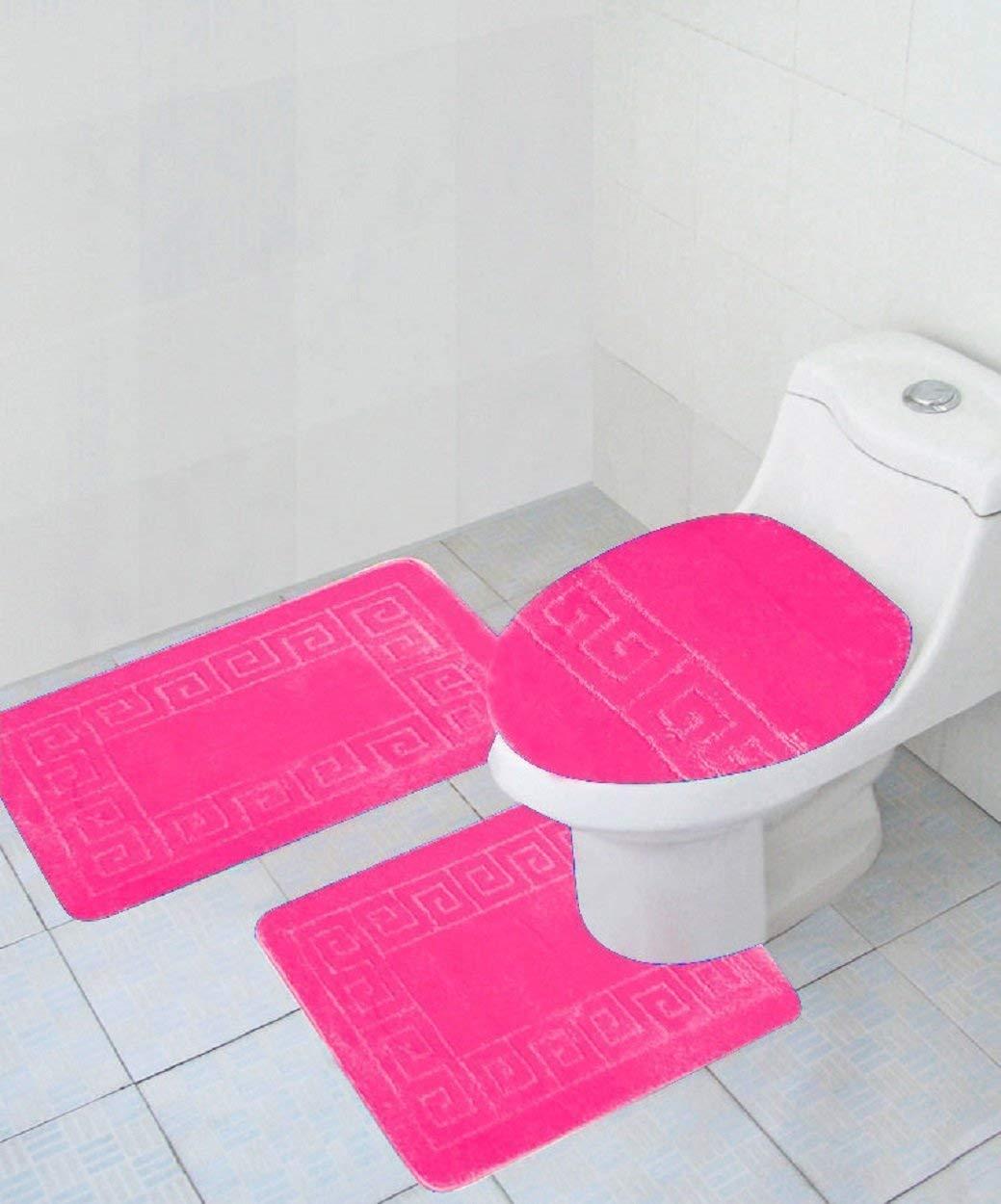 3 Piece Hot Pink Greek Key Pattern, Hot Pink Bathroom Sets