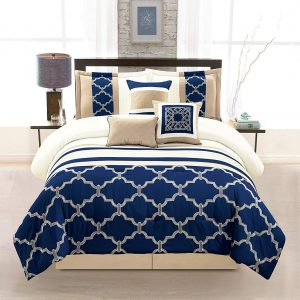 7-piece navy taupe ivory comforter set