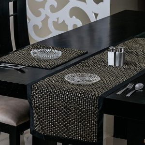 Black Gold Zari Brocade Table Runner & Mat