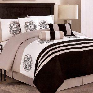 Medallion Comforter Set – black/taupe/white