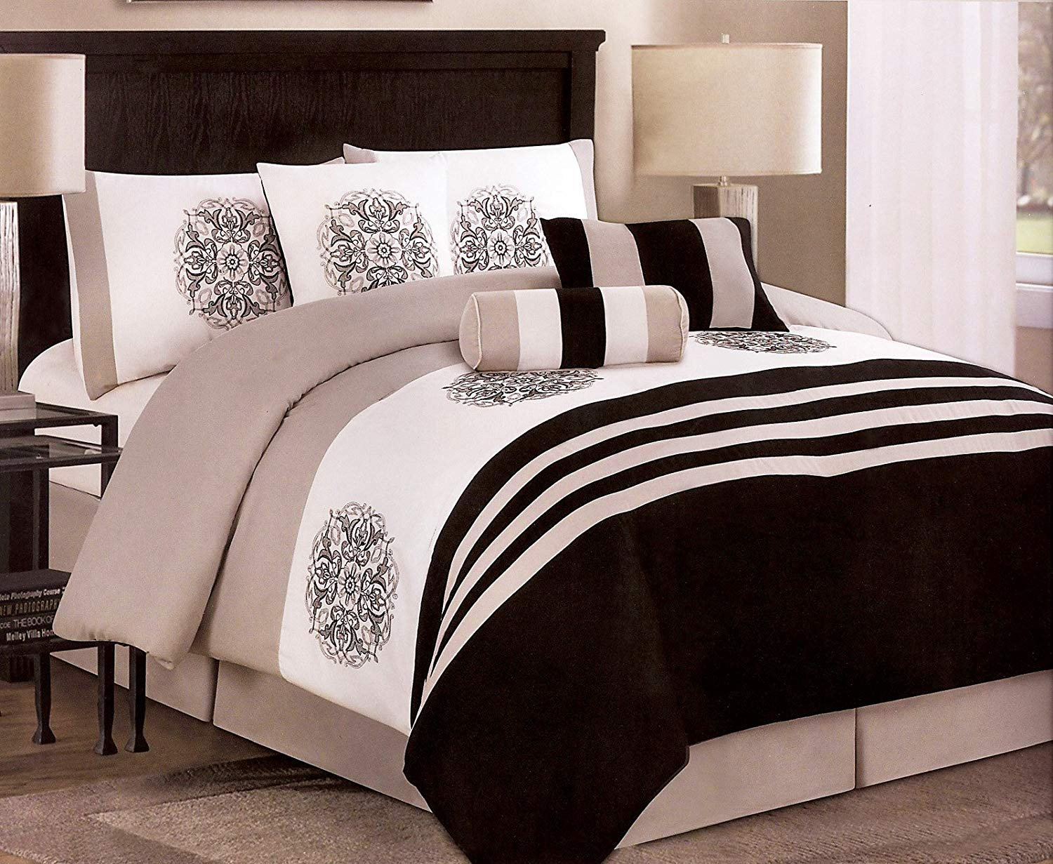 7 Piece Black Taupe White Bed In A Bag With Medallion Comforter Sets