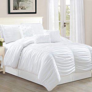 7-Piece Luxurious Pinch Pleat Decorative Pintuck Comforter Set