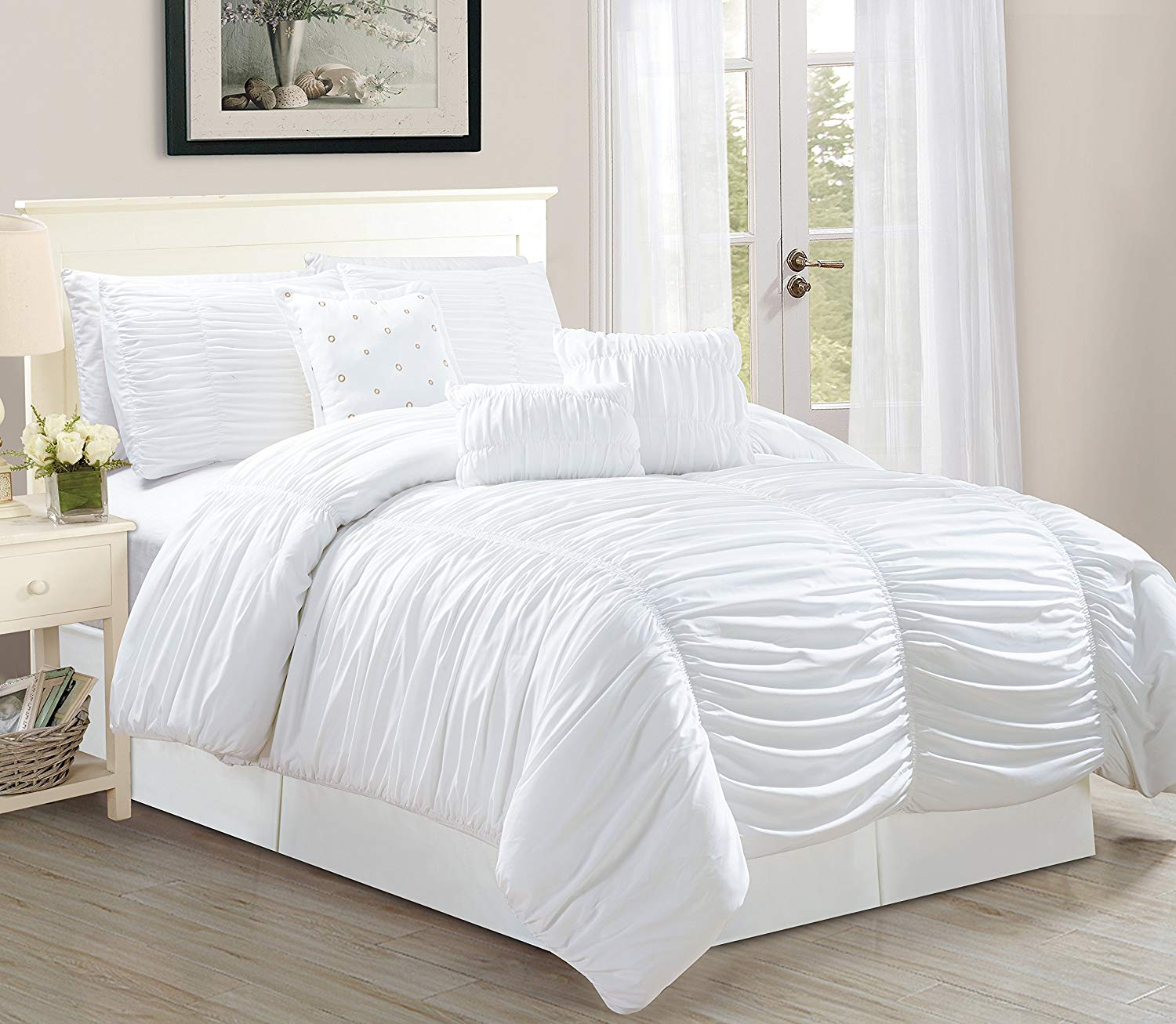 7 Piece Royal White Bed In A Bag With Luxury Pleated Comforter Sets World Products Mart