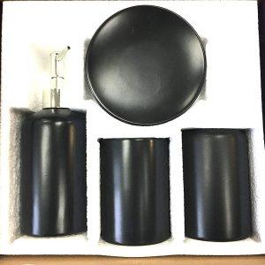 Black Bathroom Accessory Set