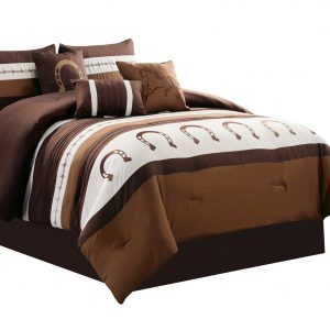 7-Piece Rustic Comforter Set. Brown/Beige Horseshoe, Horse, Barb Wired Embroidered Bed in a Bag Western Cowboy Bedding Set_1