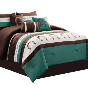 7-Piece Rustic Comforter Set. Brown/Beige/Teal Horseshoe, Horse, Barb Wired Embroidered Bed in a Bag Western Cowboy Bedding Set_7