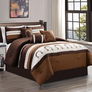 7-Piece Rustic Comforter Set. Brown/Beige Horseshoe, Horse, Barb Wired Embroidered Bed in a Bag Western Cowboy Bedding Set