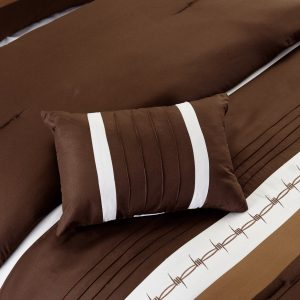 7-Piece Rustic Comforter Set. Brown/Beige Horseshoe, Horse, Barb Wired Embroidered Bed in a Bag Western Cowboy Bedding Set_4
