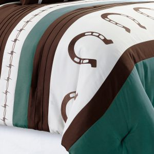 7-Piece Rustic Comforter Set. Brown/Beige/Teal Horseshoe, Horse, Barb Wired Embroidered Bed in a Bag Western Cowboy Bedding Set_1