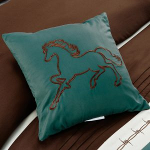 7-Piece Rustic Comforter Set. Brown/Beige/Teal Horseshoe, Horse, Barb Wired Embroidered Bed in a Bag Western Cowboy Bedding Set_2