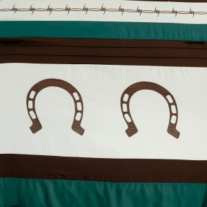 7-Piece Rustic Comforter Set. Brown/Beige/Teal Horseshoe, Horse, Barb Wired Embroidered Bed in a Bag Western Cowboy Bedding Set_6