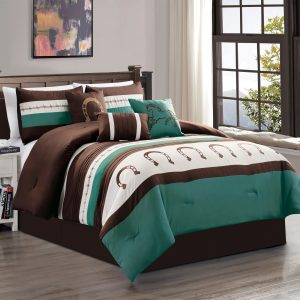 7-Piece Rustic Comforter Set. Brown/Beige/Teal Horseshoe, Horse, Barb Wired Embroidered Bed in a Bag Western Cowboy Bedding Set