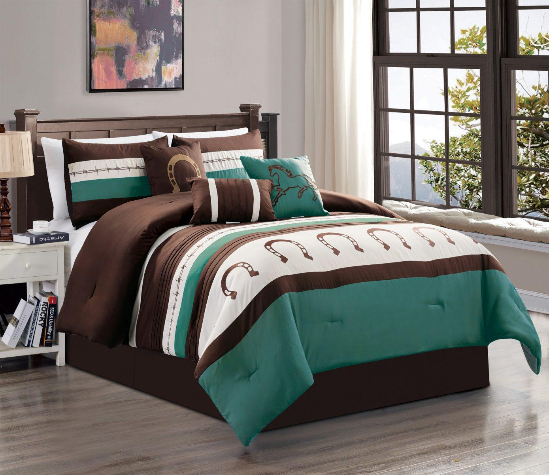 7 Piece Brown Beige Teal Bed In A Bag With Rustic Design Comforter Set