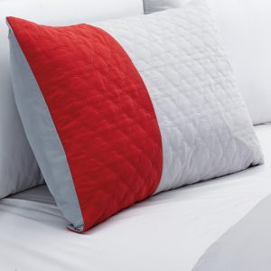 Embroidered 7-Piece Bedding Set, Silver Grey, Red Comforter with Bed Skirt, Pillow Shams and Accent Pillows Bed in a Bag-WAKANA_3