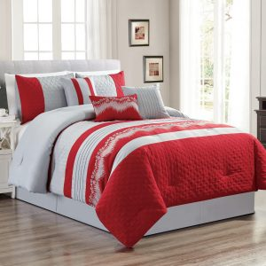 Embroidered 7-Piece Bedding Set, Silver Grey, Red Comforter with Bed Skirt, Pillow Shams and Accent Pillows Bed in a Bag-WAKANA