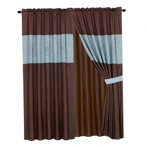Luxury Embroidered Curtain Set. 4 Piece Drapes with Backing & Tie Backs (Aqua Blue & Brown)