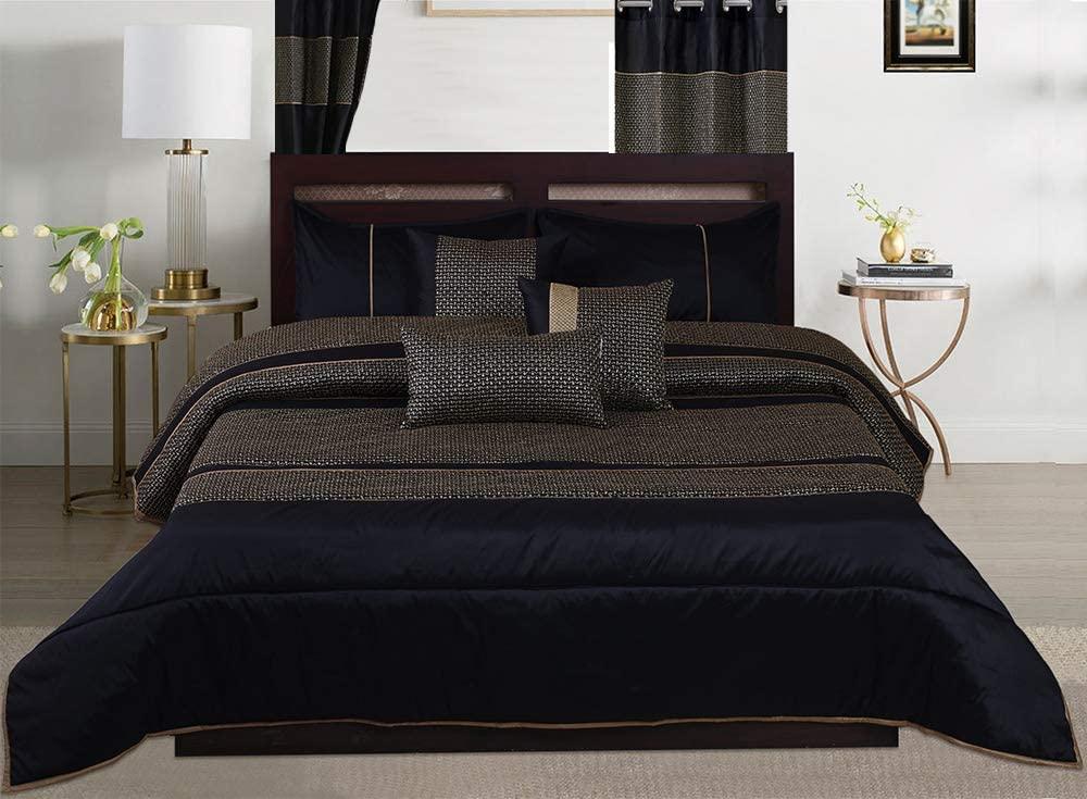 7-Piece Black/Gold Bed-in-a-Bag Brocade Design Comforter Sets