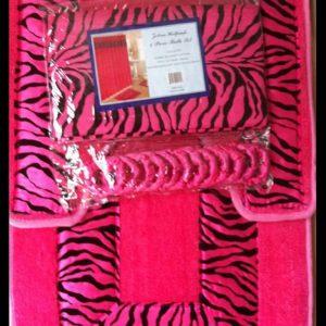 zebra pink bath set