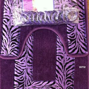 zebra purple bath set