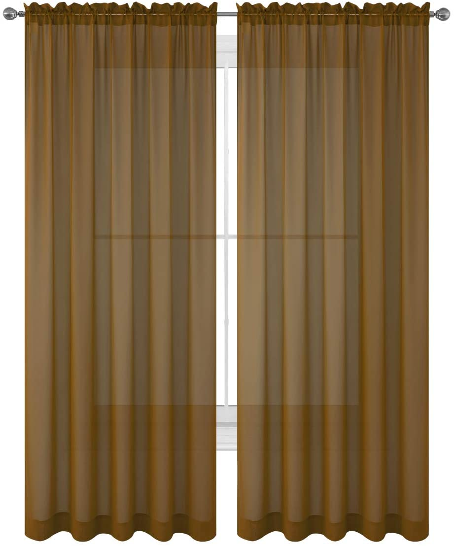 84 Inch Brown Sheer Window Curtains For Living Room