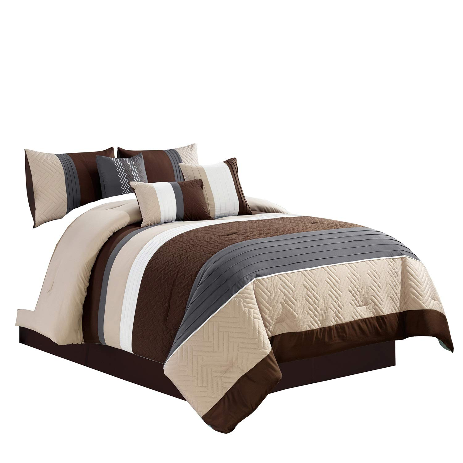 7 Piece Bed In A Bag Modern Comforter Sets With Gray Brown Beige Color