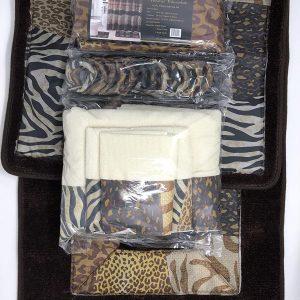 AF 18 Piece Bath Rug Set Leopard Brown Bathroom Rugs Zebra Shower Curtain Mat Rings