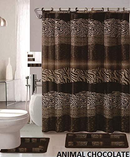 Wpm 22 Piece Bathroom Accessories Set Bath Mats Shower Curtain Towels