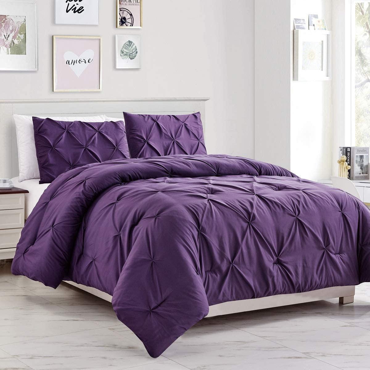 Wpm 3 Piece Microfiber Comforter Set Pinch Pleat Pintuck Down Alternative Bedding All Season Purple Bedroom Decor Jn1 Dark Purple World Products Mart