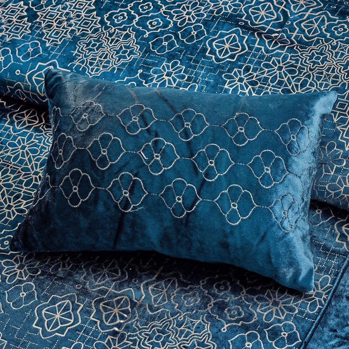 wpm 7 piece teal blue gold comforter set luxury royal