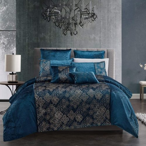 WPM 7 Piece Teal Blue Gold Comforter Set Luxury Royal Bedding Bed in a Bag  with Euro Shams Decorative Pillows-Kala | World Products Mart